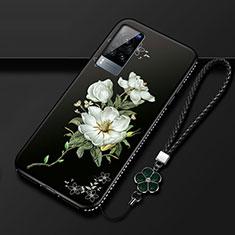 Handyhülle Silikon Hülle Gummi Schutzhülle Flexible Blumen S01 für Vivo X60 5G Schwarz
