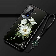 Handyhülle Silikon Hülle Gummi Schutzhülle Flexible Blumen S01 für Vivo X60 Pro 5G Schwarz