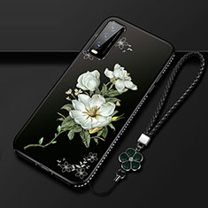 Handyhülle Silikon Hülle Gummi Schutzhülle Flexible Blumen S01 für Vivo Y12s Schwarz