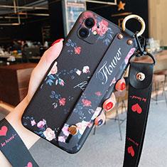 Handyhülle Silikon Hülle Gummi Schutzhülle Flexible Blumen S02 für Apple iPhone 12 Schwarz