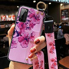 Handyhülle Silikon Hülle Gummi Schutzhülle Flexible Blumen S02 für Huawei Honor 30 Lite 5G Helles Lila