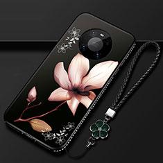 Handyhülle Silikon Hülle Gummi Schutzhülle Flexible Blumen S02 für Huawei Mate 40 Pro Braun