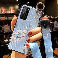 Handyhülle Silikon Hülle Gummi Schutzhülle Flexible Blumen S02 für Huawei P40 Hellblau