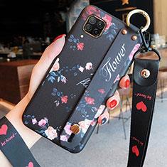 Handyhülle Silikon Hülle Gummi Schutzhülle Flexible Blumen S02 für Huawei P40 Lite Schwarz