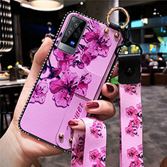 Handyhülle Silikon Hülle Gummi Schutzhülle Flexible Blumen S02 für Vivo X60 Pro 5G Violett