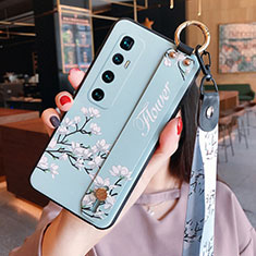 Handyhülle Silikon Hülle Gummi Schutzhülle Flexible Blumen S02 für Xiaomi Mi 10 Ultra Hellblau