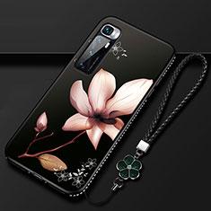 Handyhülle Silikon Hülle Gummi Schutzhülle Flexible Blumen S03 für Xiaomi Mi 10 Ultra Braun
