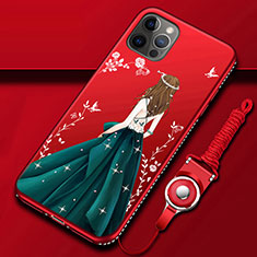 Handyhülle Silikon Hülle Gummi Schutzhülle Flexible Motiv Kleid Mädchen für Apple iPhone 12 Pro Plusfarbig