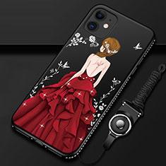 Handyhülle Silikon Hülle Gummi Schutzhülle Flexible Motiv Kleid Mädchen für Apple iPhone 12 Rot und Schwarz