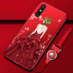 Handyhülle Silikon Hülle Gummi Schutzhülle Flexible Motiv Kleid Mädchen für Huawei Enjoy 10e Rot