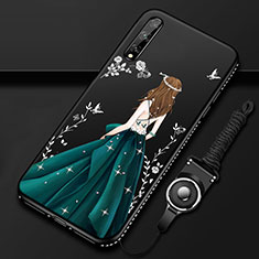 Handyhülle Silikon Hülle Gummi Schutzhülle Flexible Motiv Kleid Mädchen für Huawei Enjoy 10S Grün