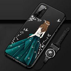 Handyhülle Silikon Hülle Gummi Schutzhülle Flexible Motiv Kleid Mädchen für Huawei Honor 30 Lite 5G Schwarz