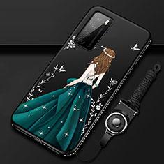 Handyhülle Silikon Hülle Gummi Schutzhülle Flexible Motiv Kleid Mädchen für Huawei Honor Play4 5G Grün