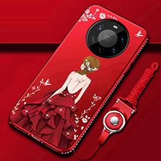 Handyhülle Silikon Hülle Gummi Schutzhülle Flexible Motiv Kleid Mädchen für Huawei Mate 40 Pro+ Plus Rot