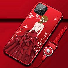 Handyhülle Silikon Hülle Gummi Schutzhülle Flexible Motiv Kleid Mädchen für Huawei Nova 8 SE 5G Rot