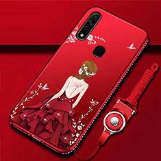 Handyhülle Silikon Hülle Gummi Schutzhülle Flexible Motiv Kleid Mädchen für Oppo A31 Rot
