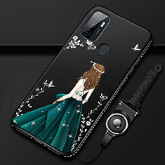 Handyhülle Silikon Hülle Gummi Schutzhülle Flexible Motiv Kleid Mädchen für Oppo A32 Schwarz