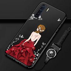 Handyhülle Silikon Hülle Gummi Schutzhülle Flexible Motiv Kleid Mädchen für Oppo A91 Rot und Schwarz