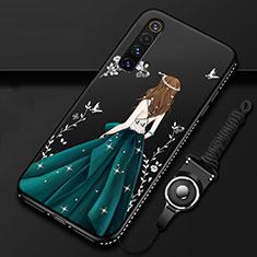 Handyhülle Silikon Hülle Gummi Schutzhülle Flexible Motiv Kleid Mädchen für Realme X3 SuperZoom Grün