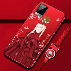 Handyhülle Silikon Hülle Gummi Schutzhülle Flexible Motiv Kleid Mädchen für Vivo V20 Pro 5G Rot