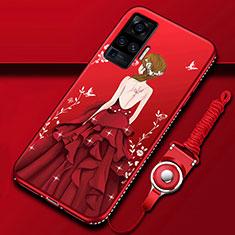 Handyhülle Silikon Hülle Gummi Schutzhülle Flexible Motiv Kleid Mädchen für Vivo X50 Pro 5G Rot