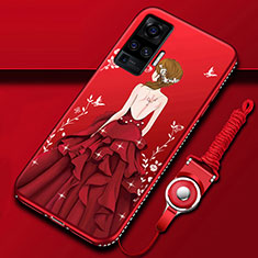 Handyhülle Silikon Hülle Gummi Schutzhülle Flexible Motiv Kleid Mädchen für Vivo X51 5G Rot