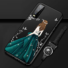 Handyhülle Silikon Hülle Gummi Schutzhülle Flexible Motiv Kleid Mädchen für Vivo Y12s Grün