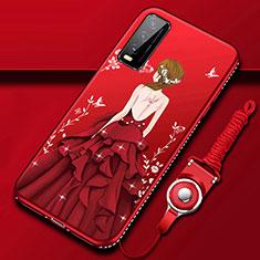Handyhülle Silikon Hülle Gummi Schutzhülle Flexible Motiv Kleid Mädchen für Vivo Y12s Rot