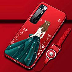 Handyhülle Silikon Hülle Gummi Schutzhülle Flexible Motiv Kleid Mädchen für Xiaomi Mi 10 Ultra Grün