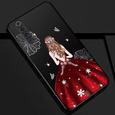 Handyhülle Silikon Hülle Gummi Schutzhülle Flexible Motiv Kleid Mädchen S01 für Realme X50 5G Rot und Schwarz