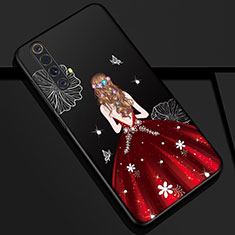 Handyhülle Silikon Hülle Gummi Schutzhülle Flexible Motiv Kleid Mädchen S01 für Realme X50m 5G Rot und Schwarz