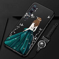 Handyhülle Silikon Hülle Gummi Schutzhülle Flexible Motiv Kleid Mädchen S01 für Xiaomi Mi Note 10 Grün