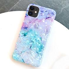 Handyhülle Silikon Hülle Gummi Schutzhülle Modisch Muster S01 für Apple iPhone 11 Blau
