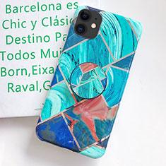 Handyhülle Silikon Hülle Gummi Schutzhülle Modisch Muster S06 für Apple iPhone 11 Cyan