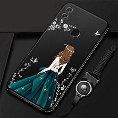 Handyhülle Silikon Hülle Gummi Schutzhülle Motiv Kleid Mädchen für Huawei Honor 10 Lite Schwarz