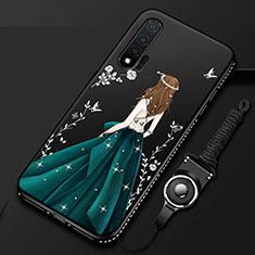 Handyhülle Silikon Hülle Gummi Schutzhülle Motiv Kleid Mädchen für Huawei Nova 6 5G Schwarz