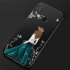 Handyhülle Silikon Hülle Gummi Schutzhülle Motiv Kleid Mädchen für Huawei P Smart (2019) Schwarz