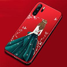 Handyhülle Silikon Hülle Gummi Schutzhülle Motiv Kleid Mädchen für Huawei P30 Pro Cyan