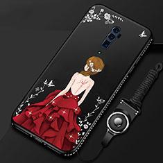 Handyhülle Silikon Hülle Gummi Schutzhülle Motiv Kleid Mädchen für Oppo Reno 10X Zoom Rot und Schwarz