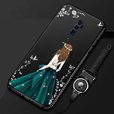 Handyhülle Silikon Hülle Gummi Schutzhülle Motiv Kleid Mädchen für Oppo Reno 10X Zoom Schwarz