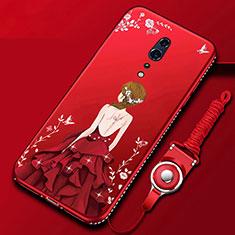 Handyhülle Silikon Hülle Gummi Schutzhülle Motiv Kleid Mädchen für Oppo Reno Z Rot