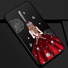 Handyhülle Silikon Hülle Gummi Schutzhülle Motiv Kleid Mädchen für Oppo Reno2 Z Rot und Schwarz