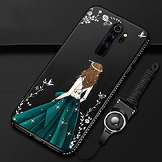 Handyhülle Silikon Hülle Gummi Schutzhülle Motiv Kleid Mädchen für Xiaomi Redmi Note 8 Pro Schwarz