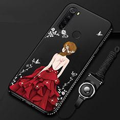 Handyhülle Silikon Hülle Gummi Schutzhülle Motiv Kleid Mädchen für Xiaomi Redmi Note 8 Rot und Schwarz