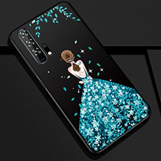 Handyhülle Silikon Hülle Gummi Schutzhülle Motiv Kleid Mädchen K01 für Huawei Honor 20 Pro Blau