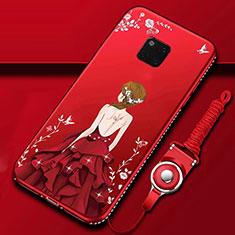 Handyhülle Silikon Hülle Gummi Schutzhülle Motiv Kleid Mädchen K01 für Huawei Mate 20 Pro Rot