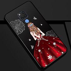 Handyhülle Silikon Hülle Gummi Schutzhülle Motiv Kleid Mädchen K01 für Huawei Mate 20 Rot und Schwarz
