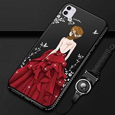 Handyhülle Silikon Hülle Gummi Schutzhülle Motiv Kleid Mädchen M01 für Apple iPhone 11 Rot und Schwarz