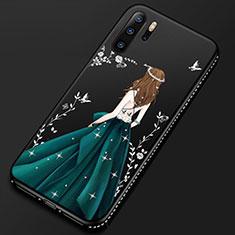 Handyhülle Silikon Hülle Gummi Schutzhülle Motiv Kleid Mädchen S01 für Huawei P30 Pro Schwarz
