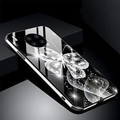 Handyhülle Silikon Hülle Rahmen Schutzhülle Spiegel Blumen C01 für Huawei Mate 30 Pro Schwarz